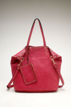 Vegan Leather Studded Tote - Magenta – Lola Accessory Boutique