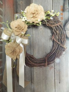 Check out this item in my Etsy shop https://www.etsy.com/listing/124718379/wreath-burlap-vintage-with-hydrangeas