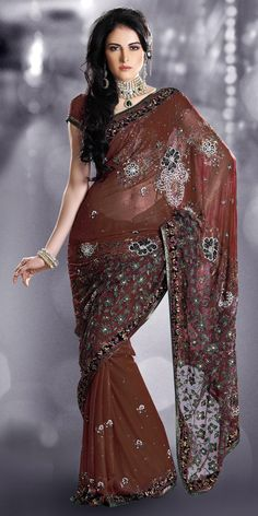 Lalit Khatri coffee brown wedding sari