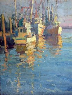 James Richards Dawns Early Light by Hercio Dias Classic Paintings, Beautiful Paintings, Boat Painting, Painting & Drawing, Landscape Art, Landscape Paintings, Landscapes, Boat Art, Water Art