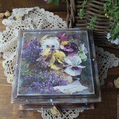 """Купить """"Летние письма"""" шкатулка - коричневый, фиолетовый, белый, Виола, анютины глазки, цветы, летний"""