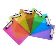 Clipboard A5 Transparent Plastic Assorted Neon Colours