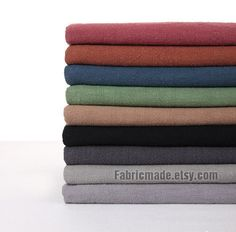 Vintage Style Solid Linen Cotton Fabric Pre Washed Heavy - 16 colors Fabric 1/2 yard