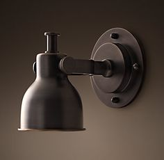 RH& Witt Adjustable Sconce:Modeled after an antique discovered in Paris, our light features task-lamp utility, an adjustable head and a pared-down presence. Storage Mirror, Bath Storage, Sconce Lighting, Cool Lighting, Lighting Ideas, Bathroom Wall Sconces, Bathroom Lighting, Bathroom Sets, Kitchen Lighting
