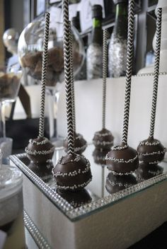 Sparkly cake pops at a New Year's Party!  See more party ideas at CatchMyParty.com!  #partyideas #newyears