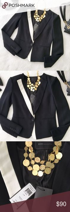 NWT BCBGMazAzria Blazer Gorgeous and chic Blazer from BCBGMaxAzria in a black and white abstract design.  Single button front, lined, faux-pockets.  New with tags. Size Small.  Retails for $298. [Necklaces, shoes and purse also for sale] BCBGMaxAzria Jackets & Coats Blazers
