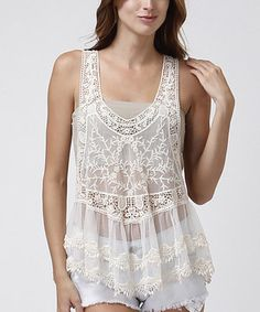 Loving this CottyOn White Sheer Crocheted Tier Racerback Tank on #zulily! #zulilyfinds