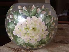 "8"" Lighted Bubble Bowl / White Hydrangea / Decorative Lamp"