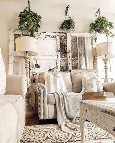 cozy farmhouse living room rug decor ideas 16 < Home Design Ideas Shabby Chic Living Room, Shabby Chic Homes, My Living Room, Home And Living, Living Room Decor, Modern Living, Small Living, Barn Living, Cozy Living