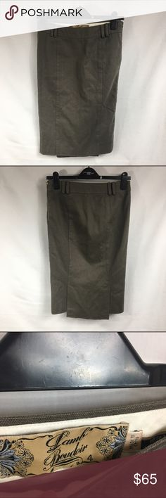 L.A.M.B Boudoir Olive Double Slit Pencil Skirt sz4 Sexy with fun military styling. Double slit in the back, fully lined. Thick cotton, side zipper closure. In good used condition. No trades, no PayPal L.A.M.B. Skirts Pencil