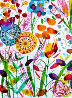 Flowers Watercolor Ink Flowers Painting par CelineArtGalerie, €80.00