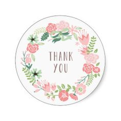 Floral Wreath Thank You Stickers