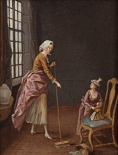 """PEHR HILLESTRÖM, """"En piga som sopar och en flicka som ostädar"""".  Utförd 1774. Uppfodrad duk 39 x 30,5 cm. Samtida förgylld och bronserad ram."""
