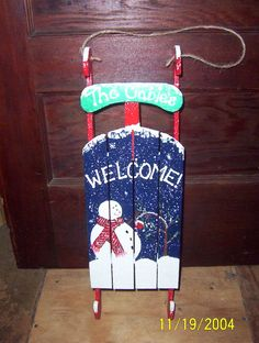 A small sled I painted for my brother Christmas Sled, Christmas Time, Christmas Ornaments, Woodworking Christmas Ideas, Holiday Decorating, Christmas Decorations, Sled Decor, Snowmen, Painting Inspiration