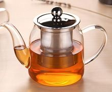 chinese borosilicate glass teapot with stainless steel infuser