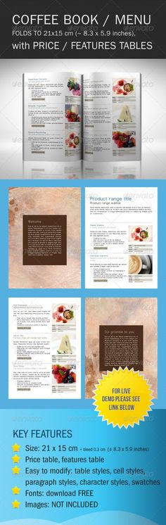 Coffee Shop Catalog - Food Menus Template InDesign INDD. Download here: http://graphicriver.net/item/coffee-shop-catalog/147781?s_rank=147&ref=yinkira