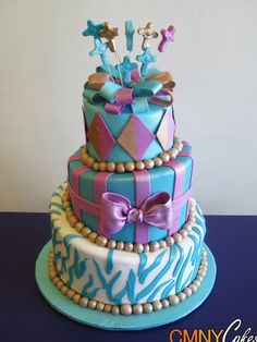 Aqua Lavender and Gold Sweet 16 Cake I want this but in neon blue green and purple