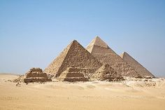A view of the Giza pyramids from the plateau to the south of the complex.