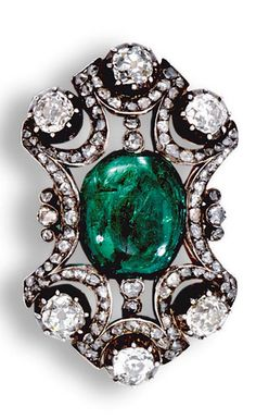 EMERALD AND DIAMOND BROOCH/PENDANT, LATE 19TH CENTURY, Of openwork design, centring on a cabochon emerald within scalloped surrounds set with rose-cut diamonds, accented with circular-cut and cushion-shaped stones in pinched collet settings, detachable brooch fittings.