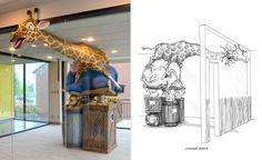 Safari themed reception desk by Imagination Dental Solutions ile ilgili görsel sonucu