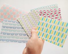Bright and fun letterpress printed notecards with hand-drawn patterns. Set of 6.