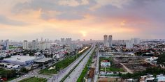 A magnificent sunset was taken by a hexecopter drone in Saigon - a former name of Ho Chi Minh City, Vietnam Aerial Images, Ho Chi Minh City, Southeast Asia, San Francisco Skyline, Vietnam, Sunset, Gallery, Travel, Viajes