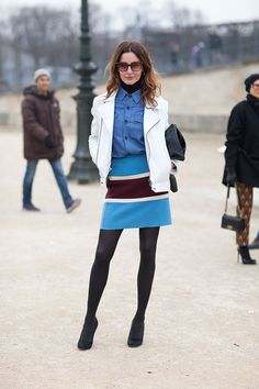 Street Style Fall 2013: Paris Fashion Week. Blue denim on blue and brown. #streetstyle