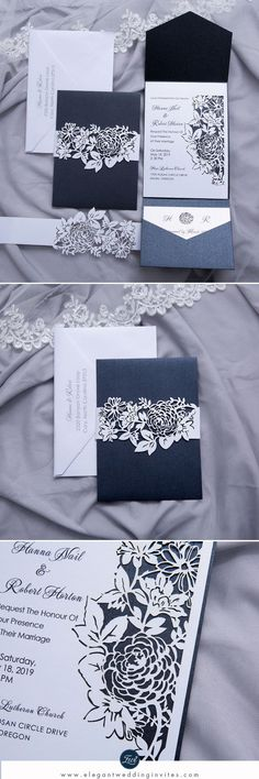 Dark Grey Pocket Wedding Invitations with Floral Laser Cut Belly Bands and Inside Cards EWWS231