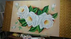 Tela pintada a óleo rosas branca
