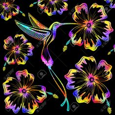 Hummingbird And Hibiscus Psychedelic Tattoo Pattern Stock Photo ...