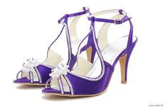 "Charming 3.5"" Pearl Brooch Floral Rhinestones Peep-toe Sandals - Ivory Satin Wedding Shoes"