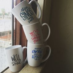 "#hymnmugs with lyrics from ""it is well with my soul"", ""come thou fount"", ""how great thou art"", and ""praise the Lord, the almighty"" in permanent ink"