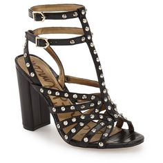 """Sam Edelman 'Yadira' Studded Sandal, 4"""" heel ($87) ❤ liked on Polyvore featuring shoes, sandals, black, thick heel sandals, chunky heel sandals, ankle strap sandals, sam edelman shoes and high heel sandals"""