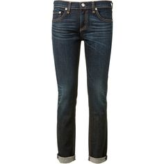 Rag & Bone The Dre Boyfriend Skinny Jeans ($135) ❤ liked on Polyvore featuring jeans, pants, bottoms, skinny fit jeans, dark blue jeans, boyfriend jeans, boyfriend fit jeans and dark blue boyfriend jeans