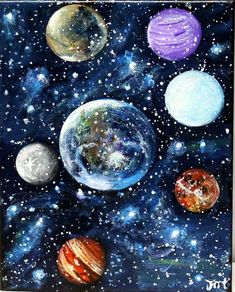easy acrylic paintings space and planets - Google Search