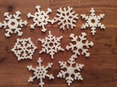 My snowflakes...perler beads, hexagonal template