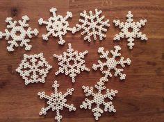 My snowflakes...perler beads, hexagonal template