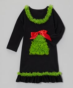 Do ---  Take a look at this Black Christmas Tree Ruffle Dress - Infant, Toddler & Girls on zulily today!