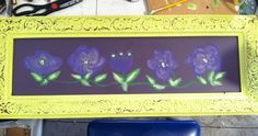 Beautiful Upcycled antiqued lime frame with hand painted purple / yellow flowers and added rhinestones.  $35.00