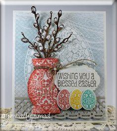 Stamps - Our Daily Bread Designs Blessed Easter, Floral Egg, Happy Spring, ODBD Custom Eggs Die, ODBD Custom Decorative Vase Die, ODBD Custom Beautiful Borders Dies, ODBD Custom Vintage Labels Die, ODBD Shabby Rose Paper Collection