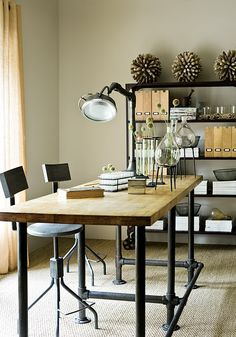 Work desk table counter height, or height adjustable, stools, add locking caster, lamp connected