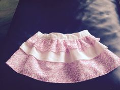 3-6 month pink and white layer skirt