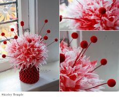 Aunt Peaches--so many fun coffee filter flower arrangements! Coffee Filter Flowers, Coffee Filter Crafts, Coffee Filters, Party Centerpieces, Flower Centerpieces, Centerpiece Ideas, Diy Flowers, Paper Flowers, Flower Ideas