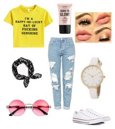 """""""Happy and sarcastic"""" by natalie1027 on Polyvore featuring Topshop, Converse, rag & bone and NYX"""