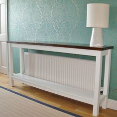 Deanery Hall Table Radiator Cover with Shelf and hand-painted finish - Deanery Furniture Diy Radiator Cover, Radiator Shelf, Radiator Ideas, Hallway Storage Bench, Staircase Storage, Hall Table Decor, Hall Tables, Painted Radiator, Home Radiators