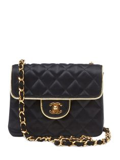Rare Black Quilted Satin Classic Flap Mini Square by Chanel at Gilt