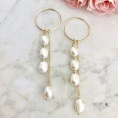 Long pearl earrings long hoop earrings long hoop and pearl earrings long chain earrings long pearl chandelier earrings gold hoops Thin Hoop Earrings, Chain Earrings, Bridal Earrings, Gemstone Earrings, Beaded Earrings, Earrings Handmade, Beaded Jewelry, Pearl Earrings, Diy Earrings With Pearls