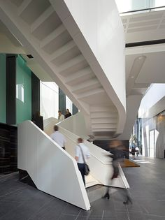 One One One Eagle Street Designed by - Michael Rayner of Cox Rayner Architects Corian® Colours - Cameo White Joiner/Builder - Arden Architectural Staircases