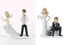 Objetos locos para casarse  Dos adornos muy graciosos para la torta de bodas. ¿Novia fugitiva o novia esclavizante? Foto:funny-pictures.picphotos.net y likeaft.com