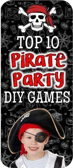 Coolest Pirate party games for a swashbuckling kids pirate party! Everything you… Coolest Pirate party games for a swashbuckling kids pirate party! Everything you need to throw a awesome kids theme birthday party Pirate Games For Kids, Pirate Party Games, Pirate Activities, Halloween Party Games, Theme Halloween, Kids Pirate Parties, Pirates For Kids, Pirate Themed Food, Beach Party Games